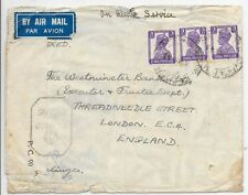 INDIA ACTIVE SERVICE CENSORED COVER TO LONDON;RETURN ADDRESS REDACTED.