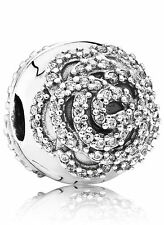 Authentic Pandora Shimmering Rose Clip 791529CZ Charm Bead
