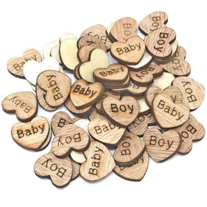 Baby Boy Wooden Shabby Chic Craft Scrapbook Vintage Confetti Hearts 15mm