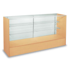Maple Assmebled 48 Inch Display Case with Adjustable Glass Shelves