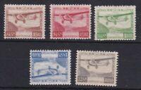 JP269) Japan 1929 Airmail set, SG 257/61 Fresh MUH/MNH Cat. £175 for hinged,rare