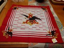 H Vintage 1989 Budweiser Bandana Handkerchief Scarf NOS ! Beer advertising sign