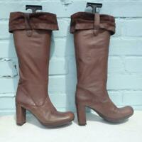 Carvela Leather Boots Size UK 4 Eur 37 Sexy Womens Ladies Pull on Brown Boots