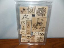 Stampin Up Teddy Bear Paw Gift Bees Mounted Wooden Stamp Set of 17 L916