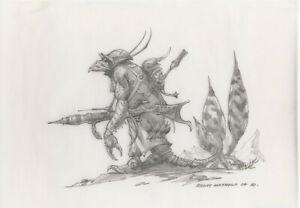 Rodney Matthews Fantasy Illustration Original Art (2004) pencil on vellum Alien