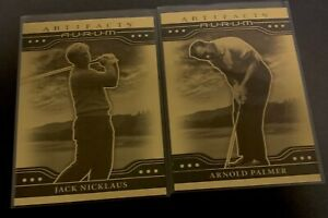 2021 Upper Deck Artifacts Jack Nicklaus + Arnold Palmer Gold Aurum SP Card LOT