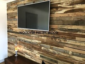 Rustic Reclaimed Pallet Wood Wall Cladding DIY Recycled Timber Planks / Boards