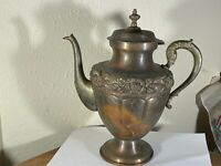 Mexico Copper & Brass Ornate Formal Coffee or Teapot Repousse Floral Motif