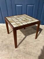 Vintage Mid Century Teak Tile Topped Coffee Occasional Side Table Retro square #