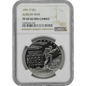 1991 P Korean War Proof Silver one Dollar Coin NGC PF69 Ultra Cameo