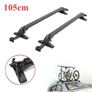 Car Roof Rack Aluminum Adjustable Cross Bar Luggage Carrier Window Frame 105cm