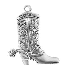 Sterling Silver Cowboy Boot Charm For Bracelet Or Necklace Jewelry For Women