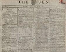 """RARE ORIGINAL NEWSPAPER """"THE SUN"""" (29 November 1800) NELSON -"""