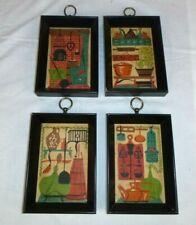 "Set of 4 Vtg Mid Century MOD Colonial Kitchen Framed Novelty Prints 4.75 x 6.75"""