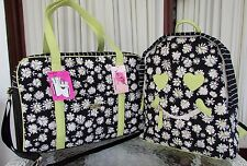 Luv Betsey Johnson Daisy XL Weekender Backpack Travel Bag Set Black White NWT