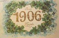 """ New Year, Year , Cloverleaf, Forget-Me-Not "" 1900, Embossed Postcard (23128)"