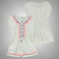 Kids Girls Branded Crafted Summer Lightweight Embroidered Playsuit Size Age 3-12