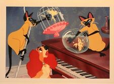 "Disney Art Print Lithograph 10""x14"" Lady and the Tramp Si Am Cats Fishbowl"