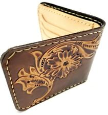Vintage Engraved tooled Leather Western Wallet Biker Trucker Billfold handmade