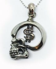 Skull with Money Sterling Silver Pendant