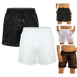 Men See-Through Mesh Boxers Briefs Drawstring Shorts Swimwear Swimming Trunks