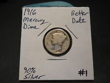 1916 Mercury Silver Dime!!! Better Date!!! Nice Coin!!! 90% Silver!!!