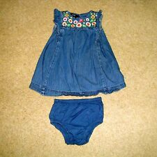 Baby Girl's GAP Denim Dress with Knickers 12-18M BabyGAP Blue Floral