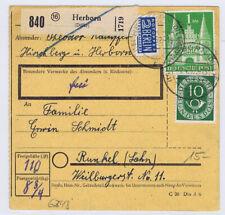 Bizone/Bauten, 97IIeg MiF 128,  Paketkarte Herborn/Dillkr. - Runkel, 1.4.52