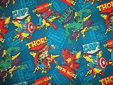 "MARVEL COMIC SUPER HERO TOSS  FABRIC 100% COTTON  NEW - CUTE 1/2  YARD  "" HTF"""