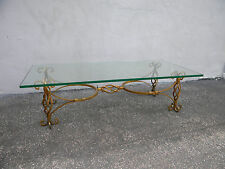 Mid-Century Gold Leaf Glass-Top Coffee Table 5752