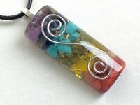 Orgone energy pendant necklace w/ seven chakra healing stones & silver coil