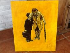 Jacques Tati óleo sobre lienzo por Colin Evans.