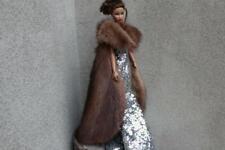 ~Jet Black Mink Fur Stole Capelet 4 Silkstone Vintage Barbie doll~by dimitha~