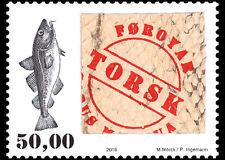 Faroer 2016  Vis  ~~ zegel met echt huid van vis ~~    postfris/mnh