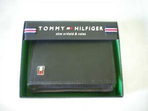 New In Box Tommy Hilfiger Mens Slim Trifold And Valet Black Leather Wallet