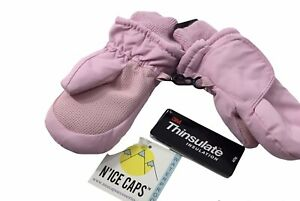 Toddler Girls Pink Snow Wrap  Mittens  Thinsulate Adjustable Size 1 to 2 Years