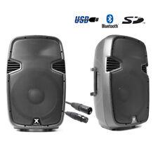 """2 X SPJ -15BLU 15"""" Active DJ Loudspeaker USB SD Bluetooth FREE 6M QTX LEAD"""