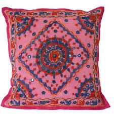 Kissenhülle Kissen 40 x 40 cm bestickt Spiegelchen Kissenbezug Baumwolle Rosa 20