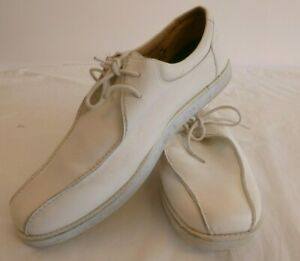 WELKIN Mens' Bowls  Shoes White Leather  Lace-up Size 11 #G3