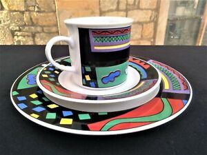 X Burg Lindau Porzellan   modern abstract * Kaffee Gedeck * Tasse + Ut + Teller