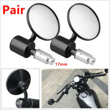 Pair Motorcycle Scooter Bikes Round Handle Bar End Rearview Side Mirrors Black