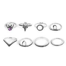 8PCS Punk Retro Silver Gold Boho Arrow Gemstone Midi Finger Knuckle Ring Jewelry