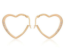 "1"" Heart Hoop CZ Earrings ION Plated Yellow Gold 316L Stainless Steel"