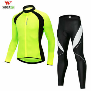 Men's Cycling Long Sleeves Jersey Pants Set Bike Bicycle Tops 3D Padded Trousers