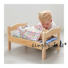 DUKTIG Doll BED with Bedlinen Pine Wood Doll bedlinen - pillow mattress blanket