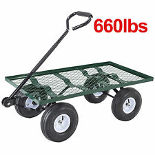 Heavy Duty Utility Garden Wagon Nursery Cart Wheelbarrow Steel Trailer Lawn Yard