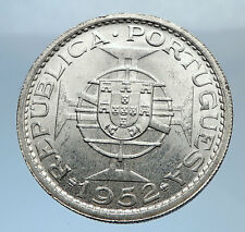 1952 MACAU under PORTUGAL Silver 5 PATACAS with Coat of Arms Vintage Coin i71884