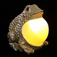 2 Outdoor Garden Solar Decor Frog Statue Landscape Yard Lawn Light Amber LED
