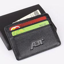 ABT Audi Slim Mini Wallet Genuine Cow Leather Thin Credit Card Case Men Holder