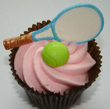 SILICONE MOULD TENNIS RACQUET BALL WIMBLEDON BIRTHDAY CUPCAKE ICING FIMO TOPPER